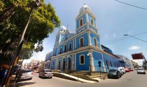 Eglise bleue de Santarem (oui nous sommes au Brésil tout est coloré!)