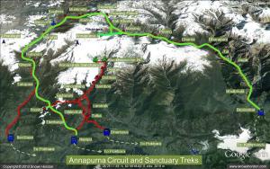 Circuit des Annapurnas (en vert notre parcours)