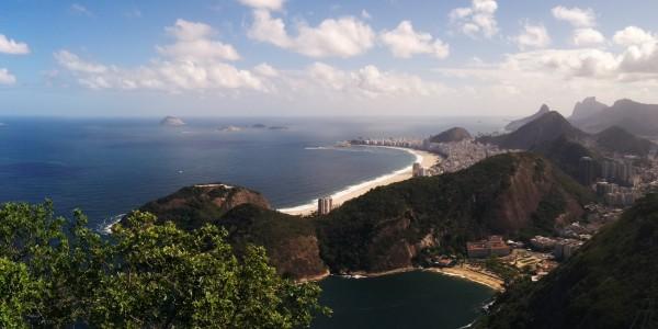 Panoramique du haut du Pain de Sucre : Vue sur Copacabana, Botafogo et le Christ rédempteur